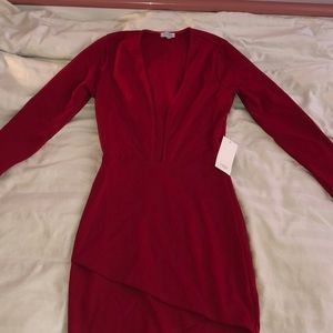 Tobi Red Plunge Dress